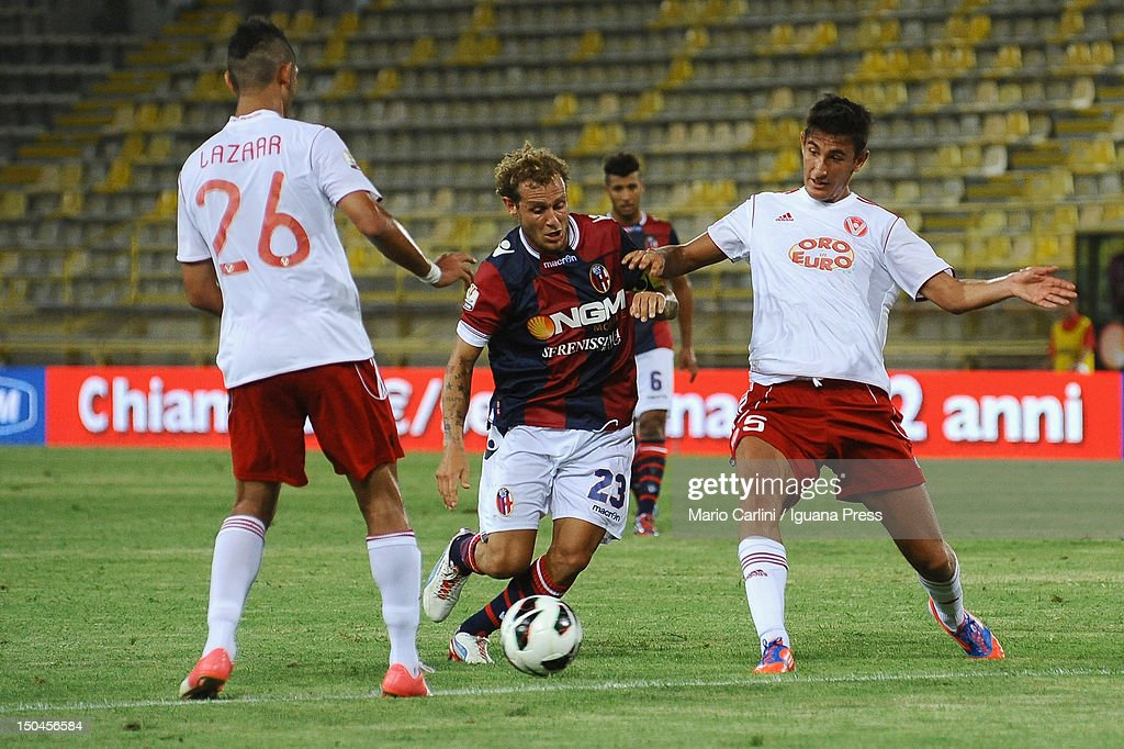 <a gi-track='captionPersonalityLinkClicked' href=/galleries/search?phrase=Alessandro+Diamanti&family=editorial&specificpeople=4891338 ng-click='$event.stopPropagation()'>Alessandro Diamanti</a> # 23 of Bologna FC in action during the TIM Cup match between Bologna FC and AS Varese at Stadio Renato Dall'Ara on August 18, 2012 in Bologna, Italy.