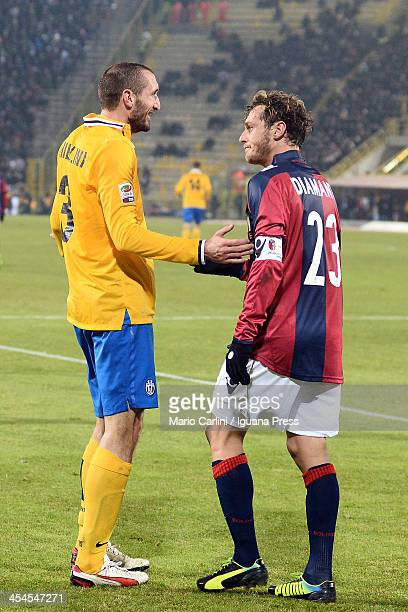 Alessandro Diamanti of Bologna FC talks with Giorgio Chiellini of Juventus during the Serie A match between Bologna FC and Juventus at Stadio Renato...