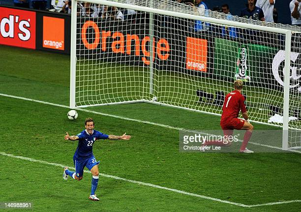 Alessandro Diamanti of Italy celebrates scoring the winning penalty during the UEFA EURO 2012 quarter final match between England and Italy at The...