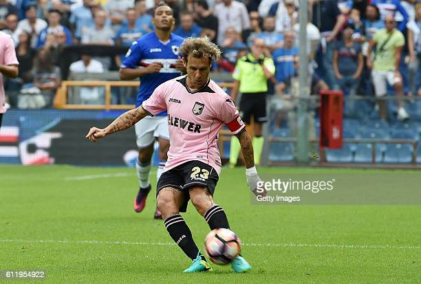 Alessandro Diamanti of Palermo in action during the Serie A match between UC Sampdoria and US Citta di Palermo at Stadio Luigi Ferraris on October 2...