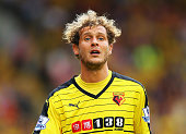 Alessandro Diamanti of Watford looks on during the Barclays Premier League match between Watford and Southampton at Vicarage Road on August 23 2015...