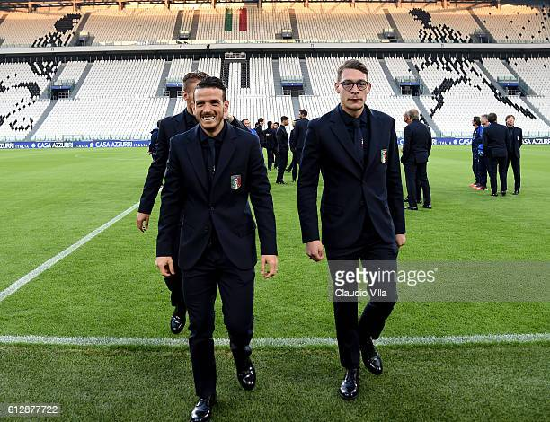 Alessandro Florenzi and Andrea Belotti of Italy attends prior to the press conference at Juventus Stadium on October 5 2016 in Turin Italy