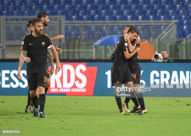 Alessandro Florenzi and Cengiz Under during the Italian Serie A football match between AS Roma and FC Hellas Verona at the Olympic Stadium in Rome on...