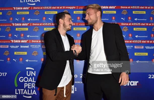 Alessandro Florenzi and Ciro Immobile attend 'Un Goal per l'Italia' Event on May 22 2017 in Norcia Italy