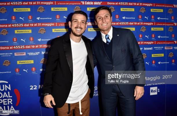 Alessandro Florenzi and Javier Zanetti attend 'Un Goal per l'Italia' Event on May 22 2017 in Norcia Italy