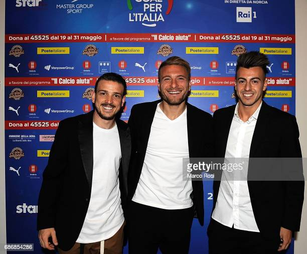 Alessandro Florenzi Ciro Immobile and Stephan El Shaarawy attend 'Un Goal per l'Italia' Event on May 22 2017 in Norcia Italy