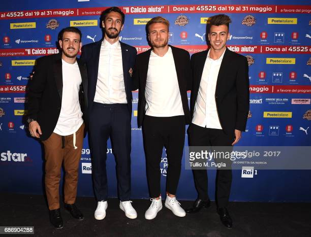 Alessandro Florenzi Davide Astori Ciro Immobile and Stephan El Shaarawy attend 'Un Goal per l'Italia' Event on May 22 2017 in Norcia Italy