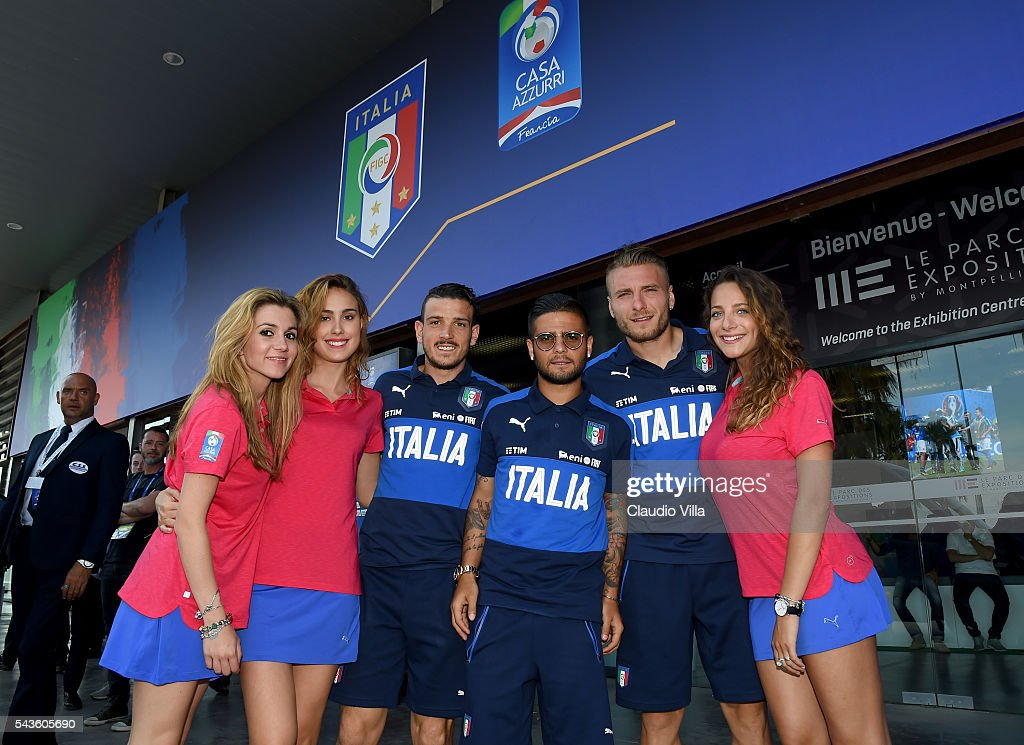 <a gi-track='captionPersonalityLinkClicked' href=/galleries/search?phrase=Alessandro+Florenzi&family=editorial&specificpeople=7349992 ng-click='$event.stopPropagation()'>Alessandro Florenzi</a>, <a gi-track='captionPersonalityLinkClicked' href=/galleries/search?phrase=Lorenzo+Insigne&family=editorial&specificpeople=7486481 ng-click='$event.stopPropagation()'>Lorenzo Insigne</a> and <a gi-track='captionPersonalityLinkClicked' href=/galleries/search?phrase=Ciro+Immobile&family=editorial&specificpeople=5820229 ng-click='$event.stopPropagation()'>Ciro Immobile</a> of Italy pose for a photo after press conference at Casa Azzurri on June 29, 2016 in Lyon, France.