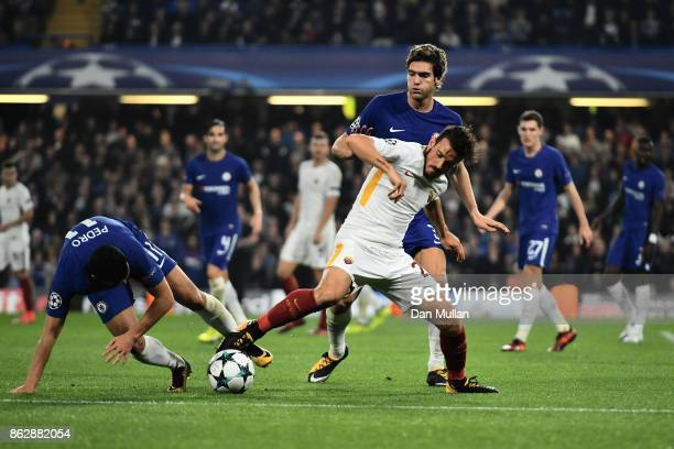 Alessandro Florenzi of AS Roma and Pedro of Chelsea battle for posession during the UEFA Champions League group C match between Chelsea FC and AS...