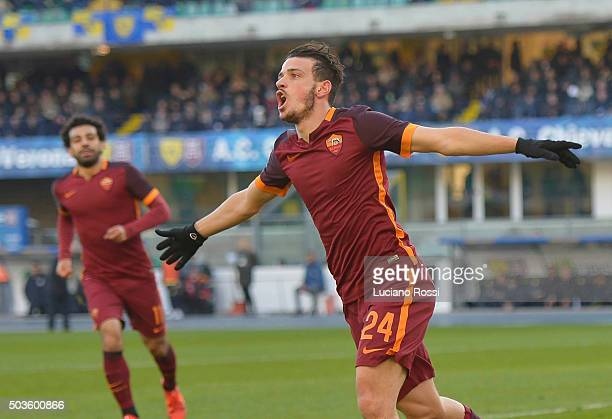 Alessandro Florenzi of AS Roma celebrates after scoring a goal during the Serie A match between AC Chievo Verona and AS Roma at Stadio Marc'Antonio...