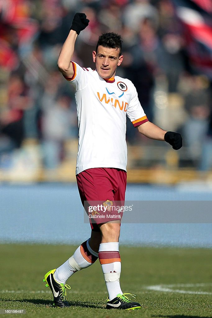 Alessandro Florenzi of AS Roma celebrates after scoring the opening goal of the Serie A match between Bologna FC and AS Roma at Stadio Renato Dall'Ara on January 27, 2013 in Bologna, Italy.