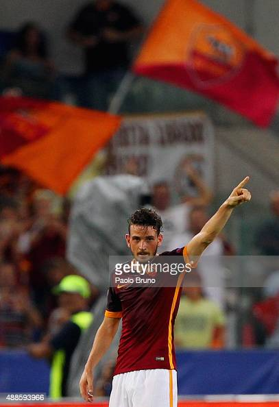 Alessandro Florenzi of AS Roma celebrates after scoring the team's first goal during the UEFA Champions League Group E match between AS Roma and FC...