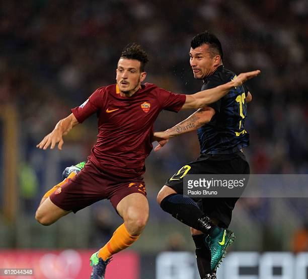 Alessandro Florenzi of AS Roma competes for the ball with Gary Medel of FC Internazionale during the Serie A match between AS Roma and FC...