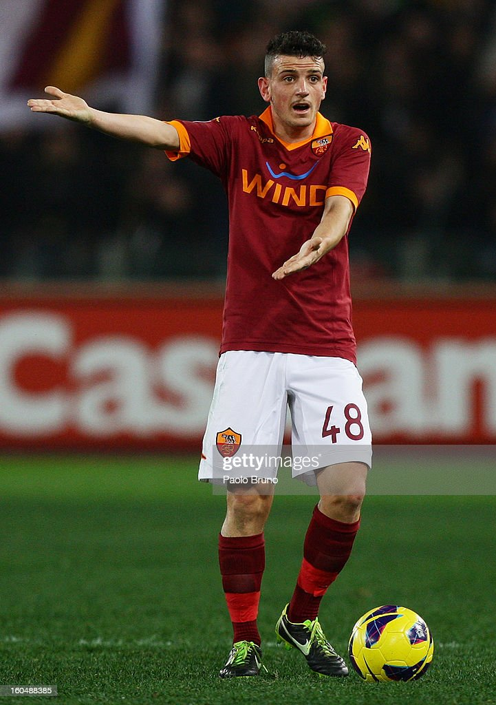 Alessandro Florenzi of AS Roma gestures during the Serie A match between AS Roma and Cagliari Calcio at Stadio Olimpico on February 1, 2013 in Rome, Italy.