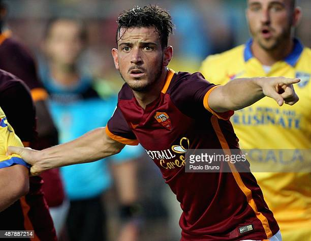 Alessandro Florenzi of AS Roma gestures during the Serie A match between Frosinone Calcio and AS Roma at Stadio Matusa on September 12 2015 in...