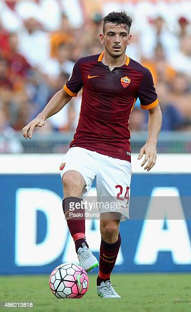 Alessandro Florenzi of AS Roma in action during the Serie A match between AS Roma and Juventus FC at Stadio Olimpico on August 30 2015 in Rome Italy