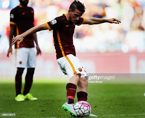 Alessandro Florenzi of AS Roma in action during the Serie A match between AS Roma and US Sassuolo Calcio at Stadio Olimpico on September 20 2015 in...