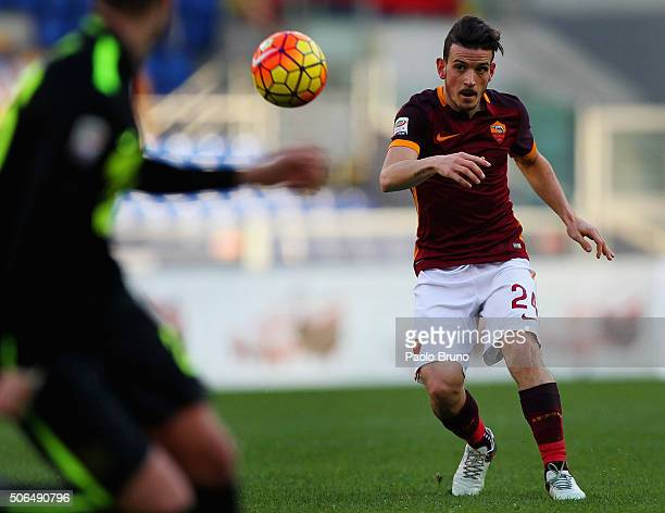 Alessandro Florenzi of AS Roma in action during the Serie A match between AS Roma and Hellas Verona FC at Stadio Olimpico on January 17 2016 in Rome...