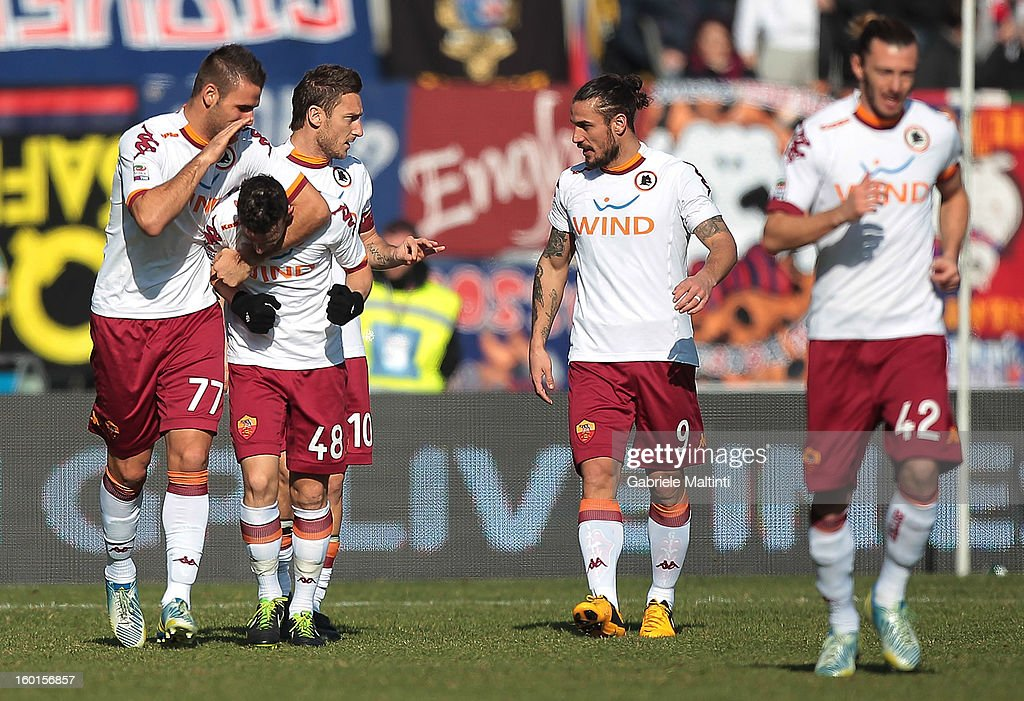 Alessandro Florenzi #48 of AS Roma is congratulated after scoring a goal during the Serie A match between Bologna FC and AS Roma at Stadio Renato Dall'Ara on January 27, 2013 in Bologna, Italy.