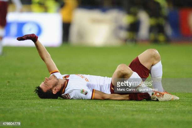 Alessandro Florenzi of AS Roma lies on the pitch during the Serie A match between Bologna FC and AS Roma at Stadio Renato Dall'Ara on February 23...