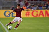 Alessandro Florenzi of AS Roma scores the goal during the UEFA Champions League Group E match between AS Roma and FC Barcelona on September 16 2015...