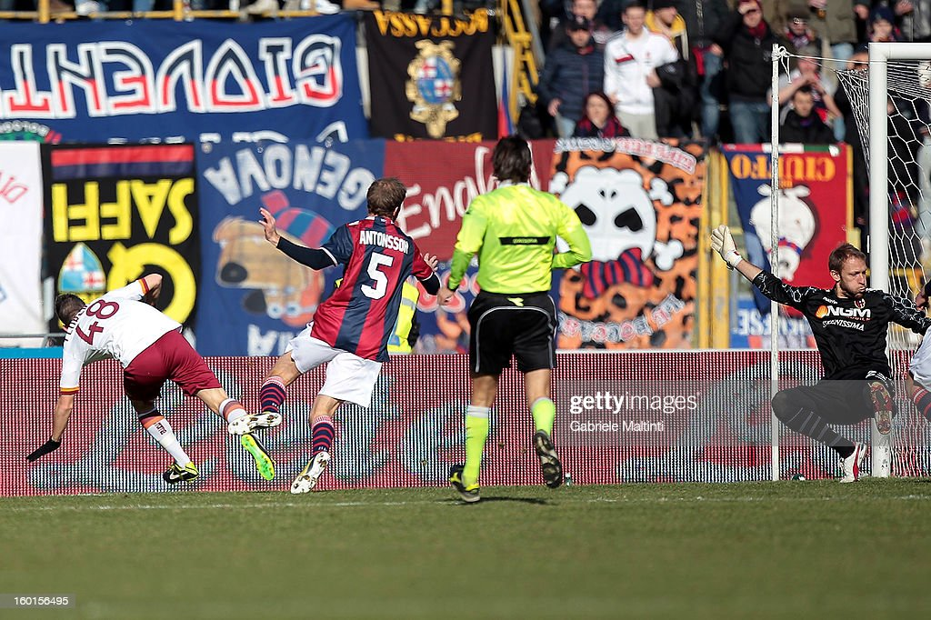Alessandro Florenzi #48 of AS Roma scores the opening goal past Bologna FC goalkeeper Federico Agliardi during the Serie A match between Bologna FC and AS Roma at Stadio Renato Dall'Ara on January 27, 2013 in Bologna, Italy.