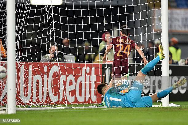 Alessandro Florenzi of AS Roma scoring the goal during the UEFA Europa League soccer match between AS Roma and FK Austria Wien at Stadio Olimpico on...