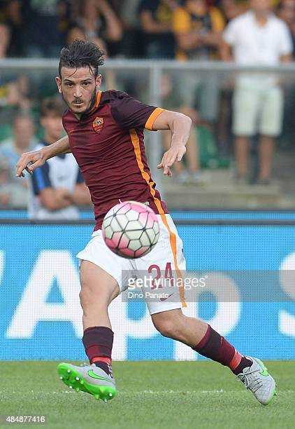Alessandro Florenzi of AS Roma shots during the Serie A match between Hellas Verona FC and AS Roma at Stadio Marc'Antonio Bentegodi on August 22 2015...