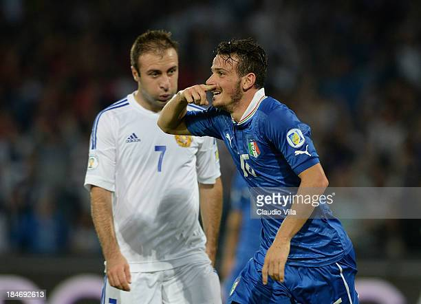 Alessandro Florenzi of Italy celebrates scoring the first goal during the FIFA 2014 World Cup qualifier group B match between Italy and Armenia at...