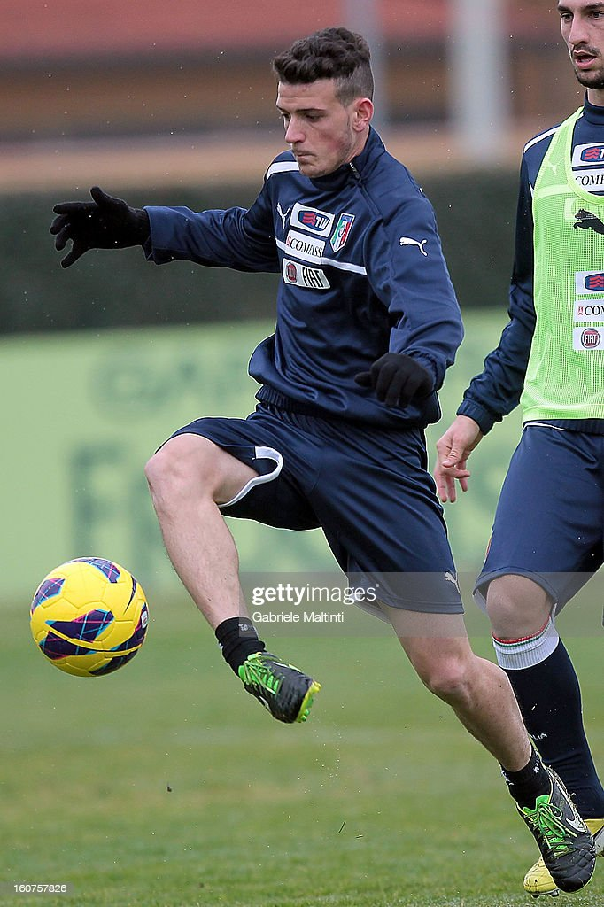 Alessandro Florenzi of Italy during a training session at Coverciano on February 5, 2013 in Florence, Italy.