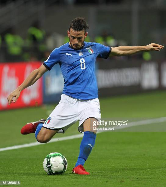 Alessandro Florenzi of Italy in action during the FIFA 2018 World Cup Qualifier PlayOff Second Leg between Italy and Sweden at San Siro Stadium on...