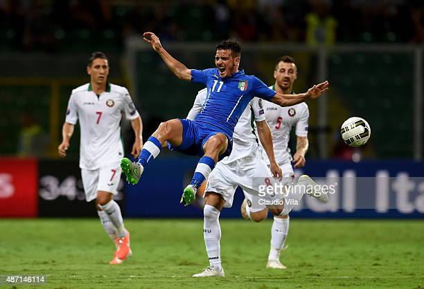 Alessandro Florenzi of Italy in action during the UEFA EURO 2016 Qualifier match between Italy and Bulgaria on September 6 2015 in Palermo Italy