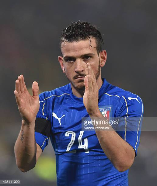 Alessandro Florenzi of Italy reacts during the international friendly match between Italy and Romania at Stadio Renato Dall'Ara on November 17 2015...