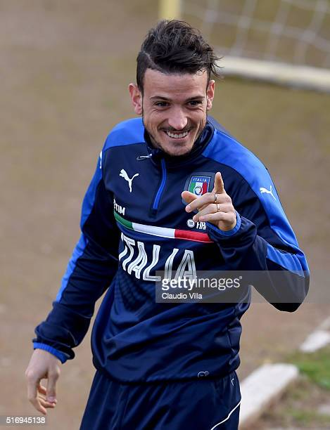 Alessandro Florenzi of Italy reacts during the Italy training session at the club's training ground at Coverciano on March 22 2016 in Florence Italy