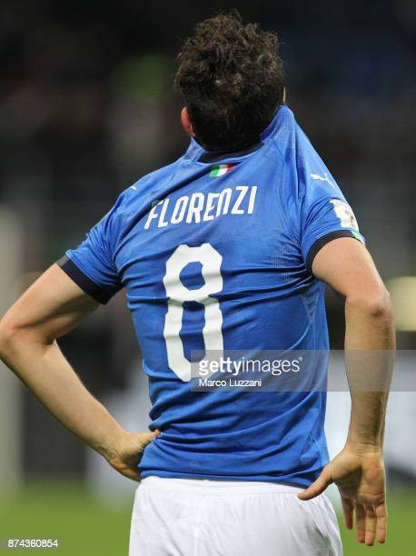 Alessandro Florenzi of Italy shows his dejection at the end of the FIFA 2018 World Cup Qualifier PlayOff Second Leg between Italy and Sweden at San...