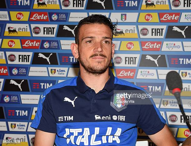 Alessandro Florenzi of Italy speaks with the media during a press conference at Casa Azzurri on June 29 2016 in Montpellier France