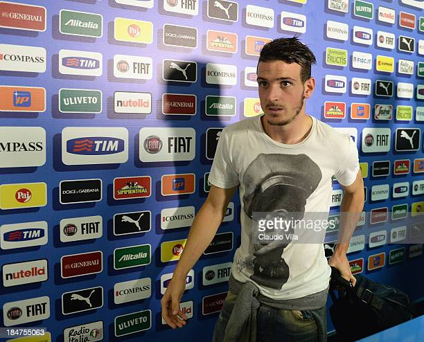 Alessandro Florenzi of Italy walks through the mixed zone after the FIFA 2014 World Cup qualifier group B match between Italy and Armenia at Stadio...
