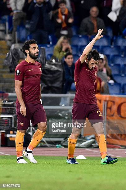 Alessandro Florenzi of Roma celebrates after scoring third goal during the UEFA Europa League match between Roma and Austria Vienna at Stadio...