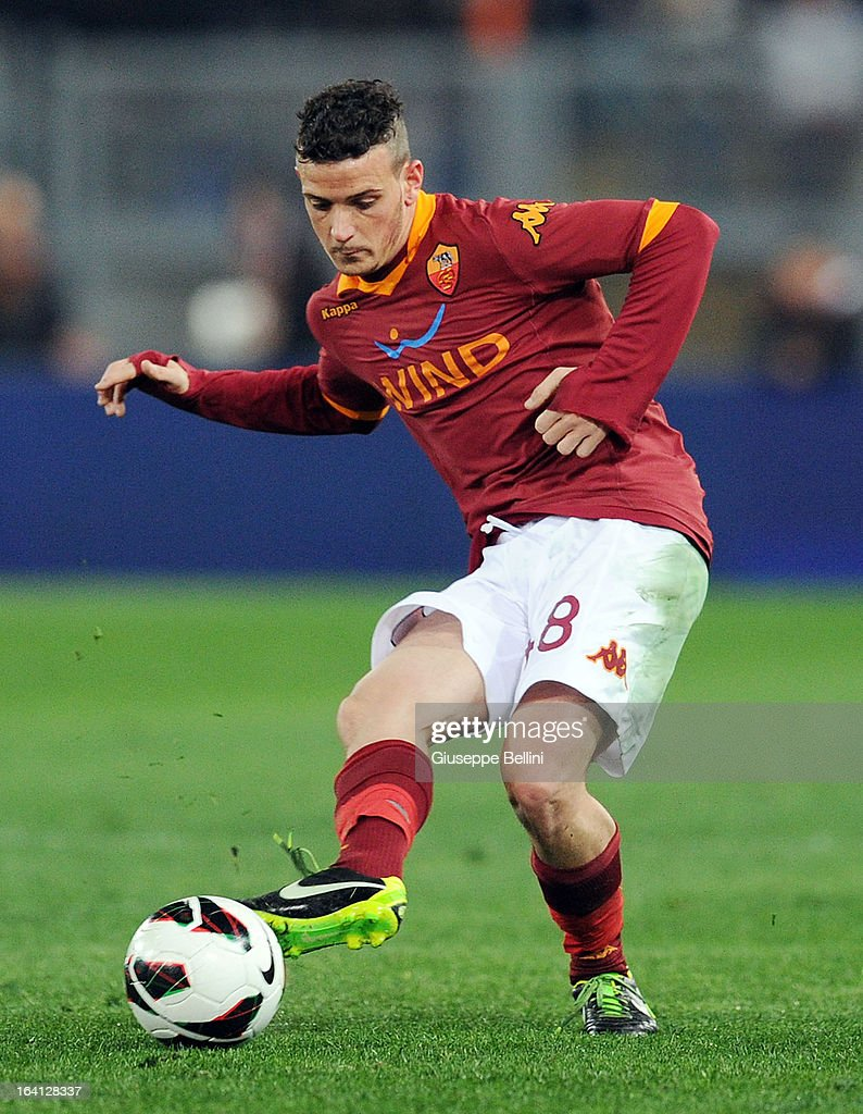 Alessandro Florenzi of Roma in action during the Serie A match between AS Roma and Parma FC at Stadio Olimpico on March 17, 2013 in Rome, Italy.