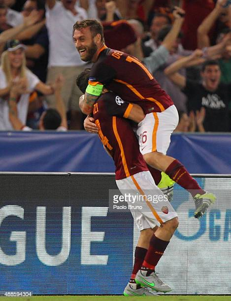 Alessandro Florenzi with his teammate Daniele De Rossi of AS Roma celebrates after scoring the team's first goal during the UEFA Champions League...