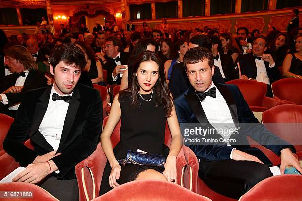Alessandro Fornaro Viola Arrivabene and Carlo Mazzoni attend Tiffany Co New Store Opening Gala at La Fenice Theater on March 21 2016 in Venice Italy