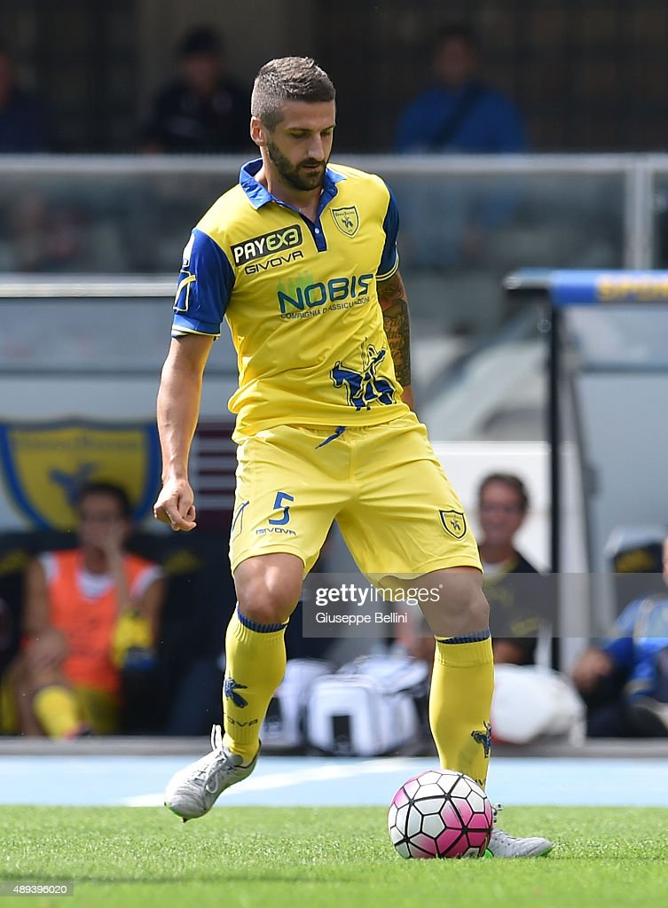 <a gi-track='captionPersonalityLinkClicked' href=/galleries/search?phrase=Alessandro+Gamberini&family=editorial&specificpeople=695639 ng-click='$event.stopPropagation()'>Alessandro Gamberini</a> of AC Chievo Verona in action during the Serie A match between AC Chievo Verona and FC Internazionale Milano at Stadio Marc'Antonio Bentegodi on September 20, 2015 in Verona, Italy.