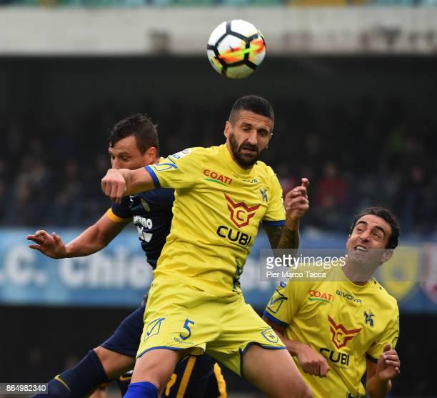 Alessandro Gamberini of AC Chievo Verona in action during the Serie A match between AC Chievo Verona and Hellas Verona FC at Stadio Marc'Antonio...