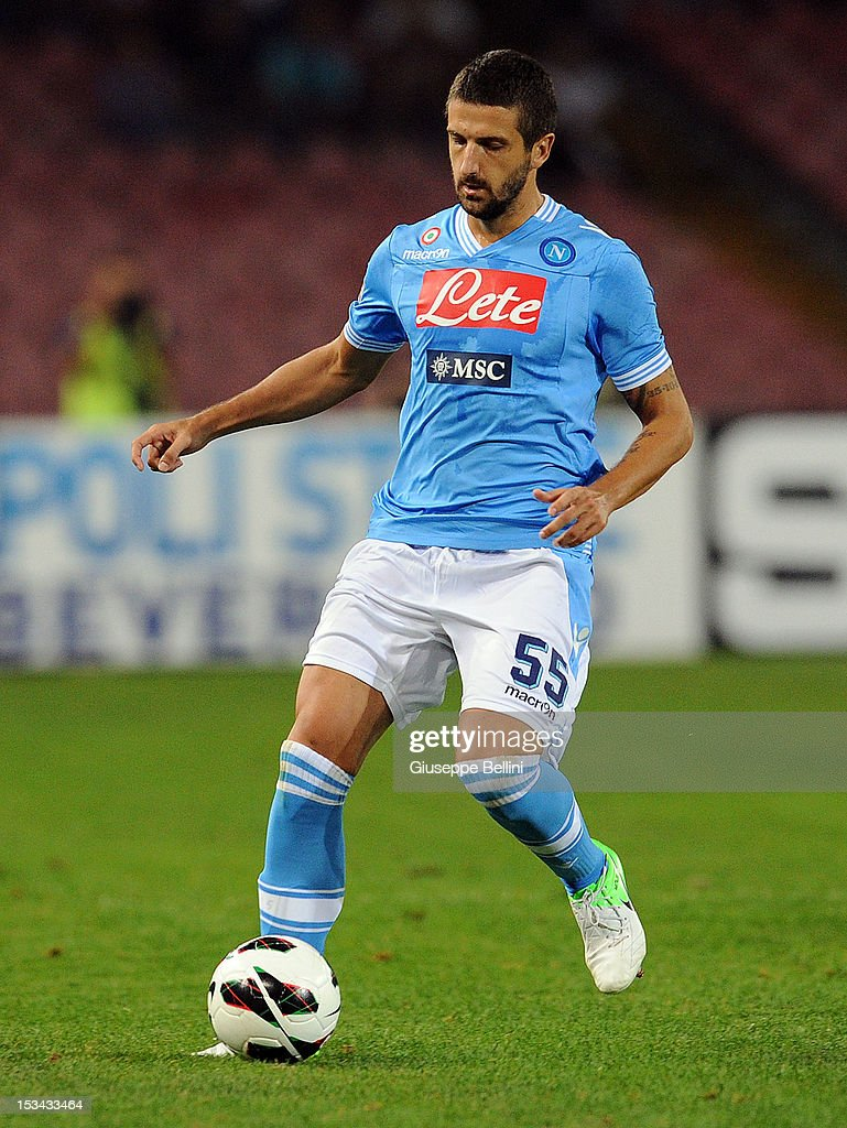 <a gi-track='captionPersonalityLinkClicked' href=/galleries/search?phrase=Alessandro+Gamberini&family=editorial&specificpeople=695639 ng-click='$event.stopPropagation()'>Alessandro Gamberini</a> of Napoli in action during the Serie A match between SSC Napoli and S.S. Lazio at Stadio San Paolo on September 26, 2012 in Naples, Italy.