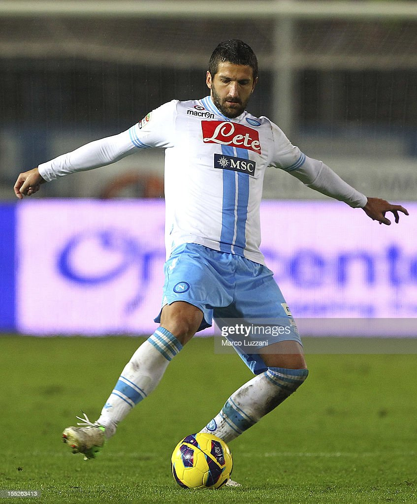 <a gi-track='captionPersonalityLinkClicked' href=/galleries/search?phrase=Alessandro+Gamberini&family=editorial&specificpeople=695639 ng-click='$event.stopPropagation()'>Alessandro Gamberini</a> of SSC Napoli in action during the Serie A match between Atalanta BC and SSC Napoli at Stadio Atleti Azzurri d'Italia on October 31, 2012 in Bergamo, Italy.