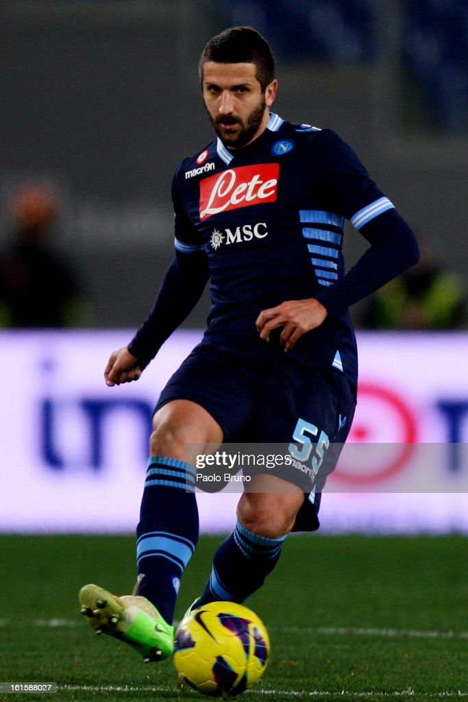 <a gi-track='captionPersonalityLinkClicked' href=/galleries/search?phrase=Alessandro+Gamberini&family=editorial&specificpeople=695639 ng-click='$event.stopPropagation()'>Alessandro Gamberini</a> of SSC Napoli in action during the Serie A match between S.S. Lazio and SSC Napoli at Stadio Olimpico on February 9, 2013 in Rome, Italy.