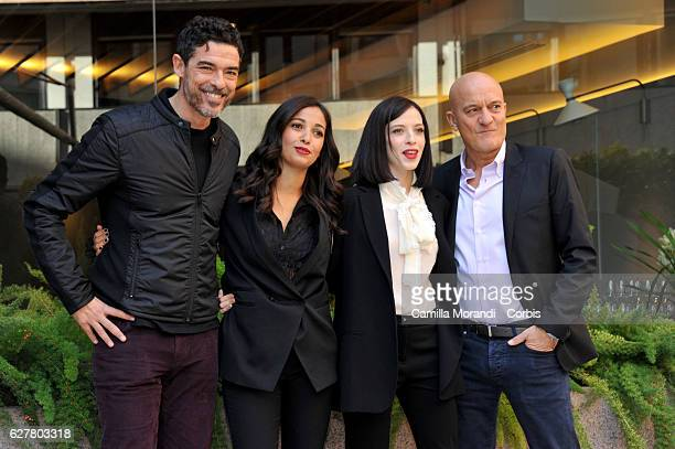 Alessandro Gassman Nabiha Akkari Laura Adriani and Claudio Bisio attend the 'Non C'e' Piu' Religione' Photocall In Rome on December 5 2016 in Rome...