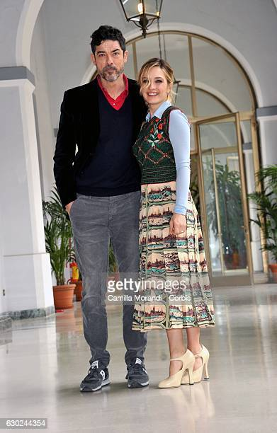 Alessandro Gassmann and Carolina Crescentini attends a photocall for 'Bastardi Di Pizzofalcone' Tv Series Photocall on December 19 2016 in Rome Italy