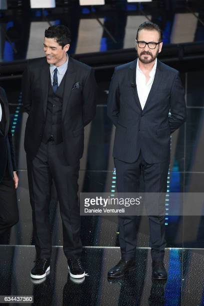 Alessandro Gassmann and Marco Giallini attend the third night of the 67th Sanremo Festival 2017 at Teatro Ariston on February 9 2017 in Sanremo Italy