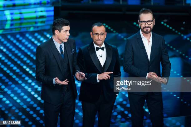 Alessandro Gassmann Carlo Conti and Marco Giallini attends the third night of the 67th Sanremo Festival 2017 at Teatro Ariston on February 9 2017 in...